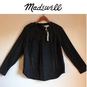 MADEWELL Shirred Denim Popover Top